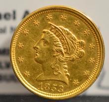 1853 $2.5 Liberty Head Gold Quarter Eagle AU