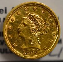 1855 $2.5 Liberty Head Gold Quarter Eagle AU