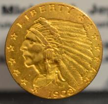 1908 $2.5 Indian Head Gold Quarter Eagle XF