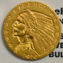 1910 $2.5 Indian Head Gold Quarter Eagle AU