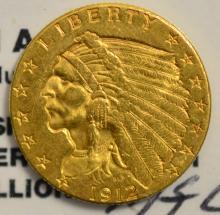 1912 $2.5 Indian Head Gold Quarter Eagle XF