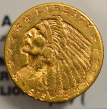 1913 $2.5 Indian Head Gold Quarter Eagle XF