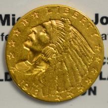 1913 $2.5 Indian Head Gold Quarter Eagle AU