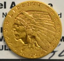 1914 $2.5 Indian Head Gold Quarter Eagle XF