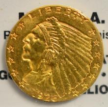 1926 $2.5 Indian Head Gold Quarter Eagle XF