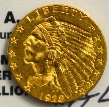 1928 $2.5 Indian Head Gold Quarter Eagle BU