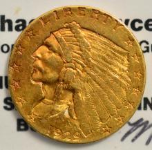 1929 $2.5 Indian Head Gold Quarter Eagle AU