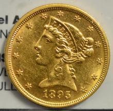 1895 $5 Liberty Head Gold Half Eagle AU