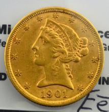 1901 $5 Liberty Head Gold Half Eagle AU+
