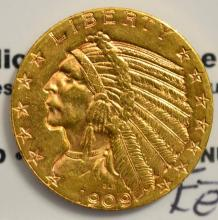 1909-D $5 Indian Head Gold Half Eagle XF Cleaned
