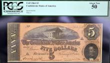 1864 $5 T-69 CSA Richmond, VA PCGS About New 50