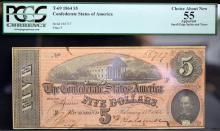 1864 $5 T-69 CSA Richmond, VA PCGS CAN 55 Apparent