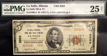 1929 $5 Type 2 La Salle, IL NB & TC PMG VF 25 NET