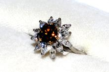 Platinum & 18k Fancy Colored Diamond Ring