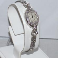 Vintage platinum and diamond Hamilton watch