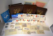 16 United Nations Flag Panels + Mint Stamps ++
