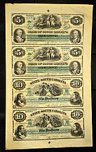 1872 State of SC Uncut Sheet 4 Revenue Bond Scrips