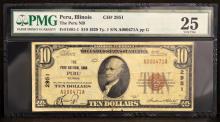 1929 $10 T1 The Peru National Bank, IL. PMG VF25