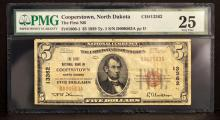 1929 $5 1st National Bank Cooperstown, ND PMG VF25