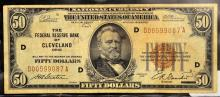 1929 $50 FRB of Cleveland, OH National Currency VG