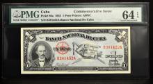 1953 Cuba 1 Peso Commemorative Issue PMG CU 64 EPQ