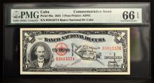 1953 Cuba 1 Peso Commemorative Issue PMG GU 66 EPQ