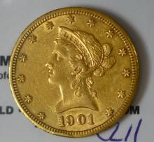 1901-S $10 Liberty Head Gold Eagle XF Rim Nick