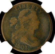 1807 Draped Bust Large Cent NGC F 12 BN