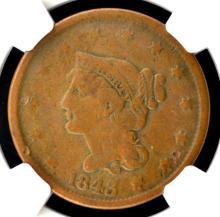 1843 PH SL Liberty Head Large Cent NGC F Details