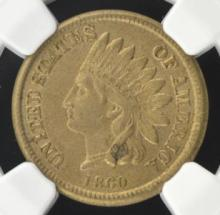 1860 Indian Head Cent NGC AU 58