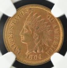 1864 L Bronze Indian Head Cent NGC MS 63 RB