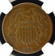 1865 Two-Cent Piece NGC VF 35 BN