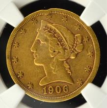 1906-S $5.00 Gold Liberty NGC XF Details Rim