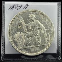 1893 A French Indochina Piastre Paris Mint F KM 5
