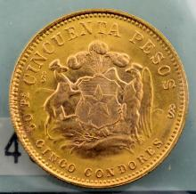 1968 Chile 50 Gold Pesos BU 10.2g