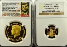 2014-W Kennedy Gold Half Dollar & $5 AGE NGC PF 69