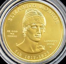2008-W $10 1st Spouse Gold UNC Coin + Boxes & COA