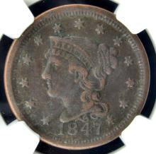 1847 Liberty Head Large Cent NGC XF Details E/D