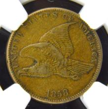 1858 Small Letters Flying Eagle Cent NGC XF 45