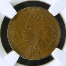 1873 Open 3 Indian Head Cent NGC XF 45 BN