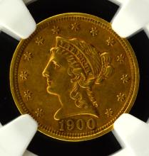 1900 $2.5 Liberty Head Gold Quarter Eagle NGC AU55