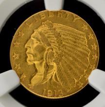 1913 $2.5 Indian Head Gold Quarter Eagle NGC AU 58