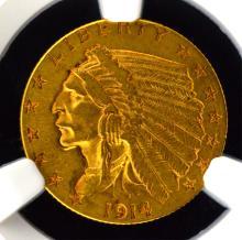 1914-D G$2.5 Indian Head Quarter Eagle NGC AU 55