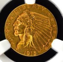 1915 G$2.5 Indian Head Quarter Eagle NGC AU Det.