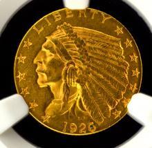 1926 $2.5 Indian Head Gold Quarter Eagle NGC MS 61