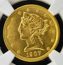 1907 $5 Liberty Head Gold Half Eagle NGC MS 62