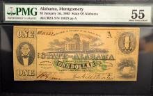 1863 $1 State of Alabama, Montgomery PMG AU 55