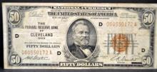 1929 $50 Federal Reserve Bank of Cleveland OH Fine