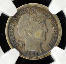 1894 Barber Dime NGC VF 30