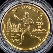 1995-W $5 Olympic Torch Runner UNC Gold Coin w/B&P